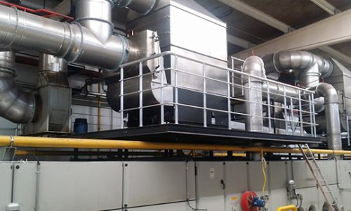 KMA exhaust air filtration systems can be combined with heat exchangers, for efficient heat recovery at stenter frames.