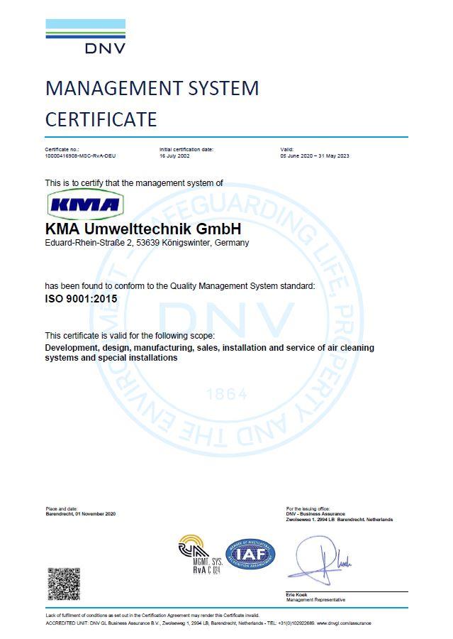 ISO Certificate of KMA Umwelttechnik